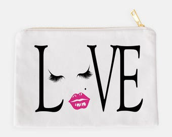 Love Makeup Pouch, Love Cosmetic Case, Pink Lips Pouch, Eyelashes Makeup Case, Makeup Organizer, Love Makeup Bag, Wedding Gift, Mom Gift