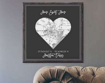 Custom GPS Sign- Home Sweet Home- Home Decor- Wall Art- GPS Coordinates- Your City Map