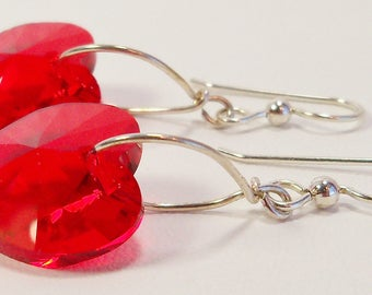 Red Swarovski Heart Crystal Earrings, Swarovski Red Heart, Red Crystal Heart, Light Siam Ruby, Handmade, Sterling Silver, July Birthstone