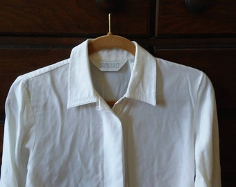 White Blouse with Punched Collar - Medium