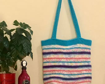 Rainbow Crochet Tote