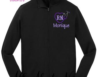 Monogrammed Nursing Jacket Personalized RN Jacket Nurse Monograms Nursing Gifts Heart Stethoscope
