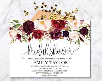 Bridal Shower Invitation, Printable Bridal Shower, Boho Bridal Shower Card, Instant Digital Download File, Flower Bride DIY, Bridal Shower 1
