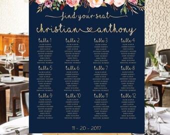 Wedding Seating Chart Navy, Wedding Seating Chart, Boho wedding seating chart, Seating chart Navy, Wedding seating chart template, S98