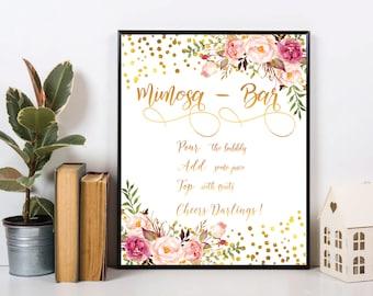 Mimosa bar sign, mimosa bar, printable mimosa bar , mimosa sign. Polka gold mimosa bar, bridal shower mimosa, mimosa bar print, #3