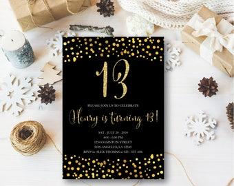 13th birthday invitation, pink gold teen birthday party invitations, rustic birthday invitation, Pink and Gold Glitter Birthday #13