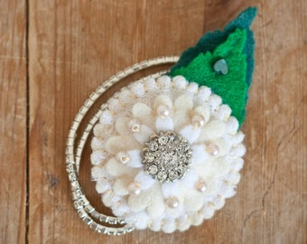 Elegant Cream and Bling Flower Girl Corsage