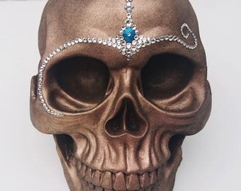 Jewelled skull - Antique gold finish embellished with Swarovski crystals, pearls & Turquoise