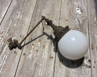 Antique Victorian WELSBACH Ornate Industrial Brass Metal Arm GAS LAMP Light Fixture Vintage Wall Sconce with Round Glass Globe Shade