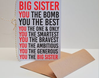 Big Sister Card - Best Big Sister Card - Gift for Sister - Gift for Big Sister - Card for Big Sister - You the Big Sister Card - Sister Card