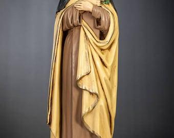 "St Rose of Lima Statue | RARE Saint Figure | Religious Antique Figurine | Vintage Polychrome Plaster | 16"" Large"