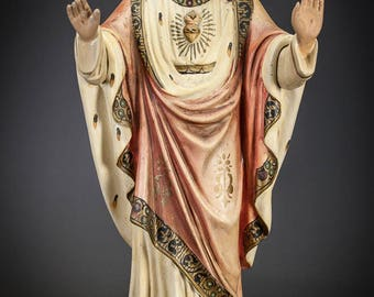 "Sacred Heart of Jesus Statue | Christ Figure | Church Antique Polychromed Plaster Figurine | 22"" Large"