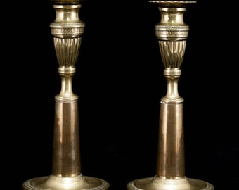"Pair of Antique Bronze Candlesticks 2 Vintage Candle Holders 10"" Large"