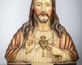 "15"" Sacred Heart of Jesus Polychromed Plaster Bust Our Lord Christ Statue"