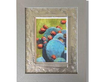 Prickly Pear Fine Art Print, Pewter Embossed Mat, Gray Wood Frame
