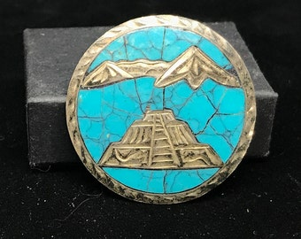 Vintage Taxco Sterling Silver and Turquoise Brooch Pendant MARKED