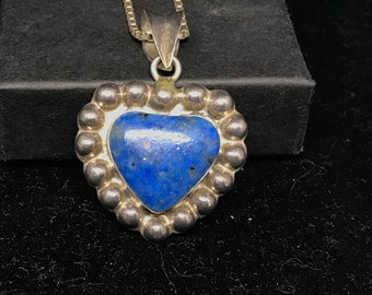 Vintage Sterling Silver and Denim Lapis Lazuli Heart Pendant on 925 Chain MARKED