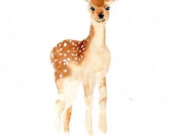 Deer art print , nursery woodland animal , watercolor deer , owl painting , forest animal art print , digital print download