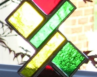 Abstract, Stained Glass Suncatcher, Handmade in England