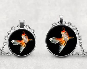 Goldfish Necklace, Fancy Goldfish Jewelry, Goldfish Gift, Digital Watercolor Art,  Pendeloque Pendants