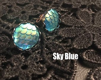 Holographic Mermaid Scale Dragon Scale Earrings