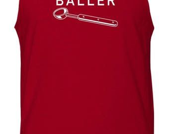 Baller Ice Cream Scoop Funny Humor Men's Activewear Gym Beach Tank Top