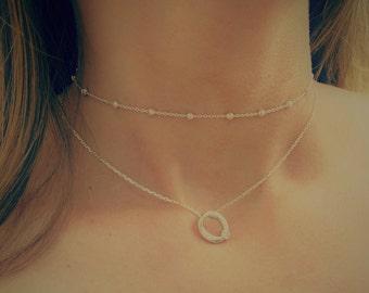 Sterling Silver Necklace, Floating Pendant Necklace, Circle necklace,  Hug necklace,  Oval CZ stone necklace, Sterling XOXO  pendant