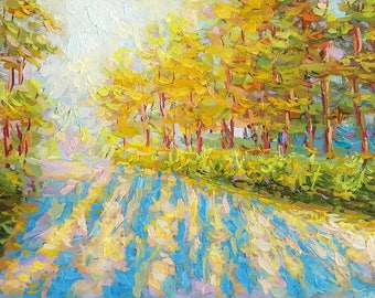 """Original oil painting autumn painting landscape park wall home decor rectangle painting small art 7x11"""" russian art Autumn Trees small"""