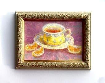 Cap of tea Original Oil painting small 8x10 marmalade fine art still life kitchen wall home decor Aleks Salatov country style interior