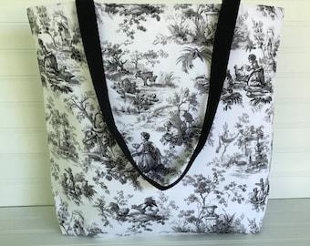 Handmade Everyday Tote | Beach Bag | Black and White Toile Tote