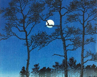 "Japanese Art Print ""Winter Moon over Toyama Plain"" by Kawase Hasui, woodblock print reproduction, asian art, cultural art, moonlit landscape"
