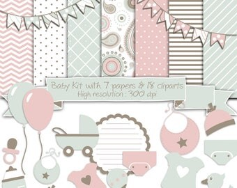 Baby Birth Digital Scrapbooking Kit • Baby Girl or Boy Clipart and Digital Papers for DIY Baby Shower Invitations, Cards or Scrapbook