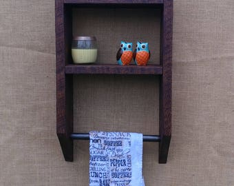 Rustic Shelf with Towel Holder
