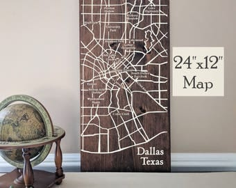 Dallas Map, Large Wooden Map, Dallas City Map, Dallas Map Wall Art, Wooden Street Map, Custom Painted Map, House Address Map by Novel Maps
