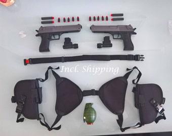 Gunset Cosplay Custom set from the Gunsmith Gunbelt Holsterset Double Guns Dress Up Shoulderholster - Double Desert Eagle Belt and granade