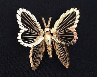 Vintage MONET Gold tone Butterfly Pin Brooch
