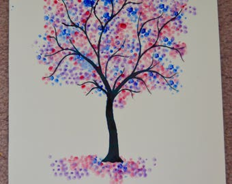Purple and blue watercolour tree painting