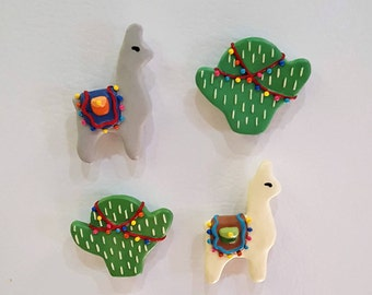 Fiesta Llamas & Cacti Refrigerator Magnets/ Magnet set/ Set of Four Magnets/Polymer Clay Magnets