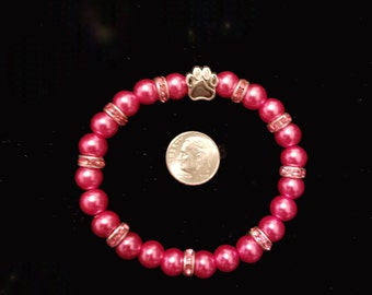 Paw print dark pink with pink crystal sparkles remembrance memory bracelet customizable size