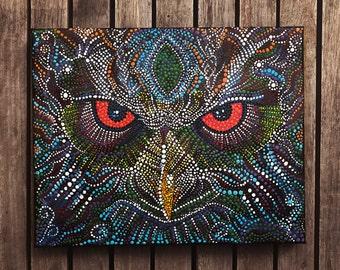 Owl - Original Spirit Animal Dot Painting