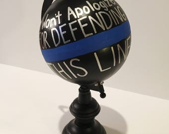Police Blue Line Hand Painted Customizable Globe