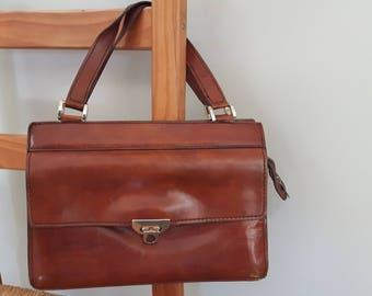For. LLI Mugnai Firenze Handbag, Vintage Italian Leather Purse, Gorgeous Brown Leather Kelly Bag, Womens Vintage Handbag