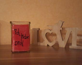 "Candle in glass ""I love you!"" Print decoration glass Lantern"