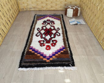 "Moroccan Rugs : Berber Boucherouite Rugs, Boho Living Room Rug, Bedroom Area Rug Decorations, Small Boho Rug, Boys Nursery Rugs 6'5"" x 2'7"""
