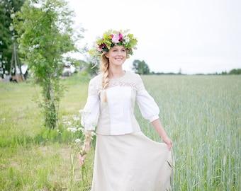 White Linen  dress, Soft linen dress, Christening linen dress, handmade linen dress, eco linen dress, eco wedding dress, Latvian folk dress