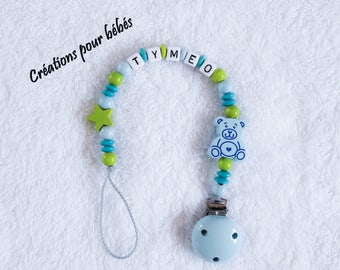 """Attach pacifier boy personalized wood beads and """"Pooh"""""""