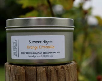 Orange Citronella Soy Candle-Soy Candle Homemade-Summer Candle-Essential Oils-All Natural Soy-Summer Scented-Insect Repellent