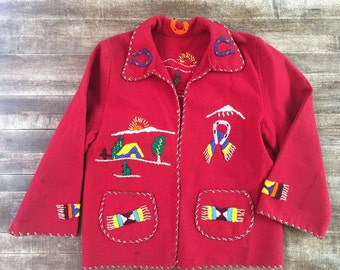 Embroidered children's wool jacket from Mexico // Vintage kids clothing // Mexican wool jacket