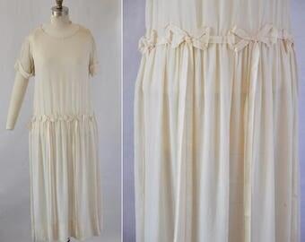 1920s Silk Ivory Flapper Dress / Vintage 20s Summer