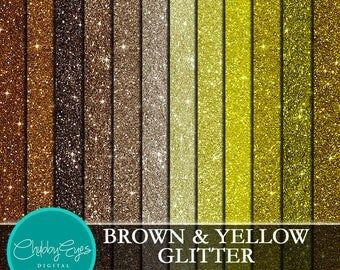 Yellow & Brown Glitter Digital Papers, Scrapbook Papers Sparkles Clipart , digital background - Instant Download